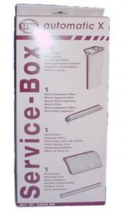 Service Box for X, 10 pk Bags + 2 Filters +Sealing Strip